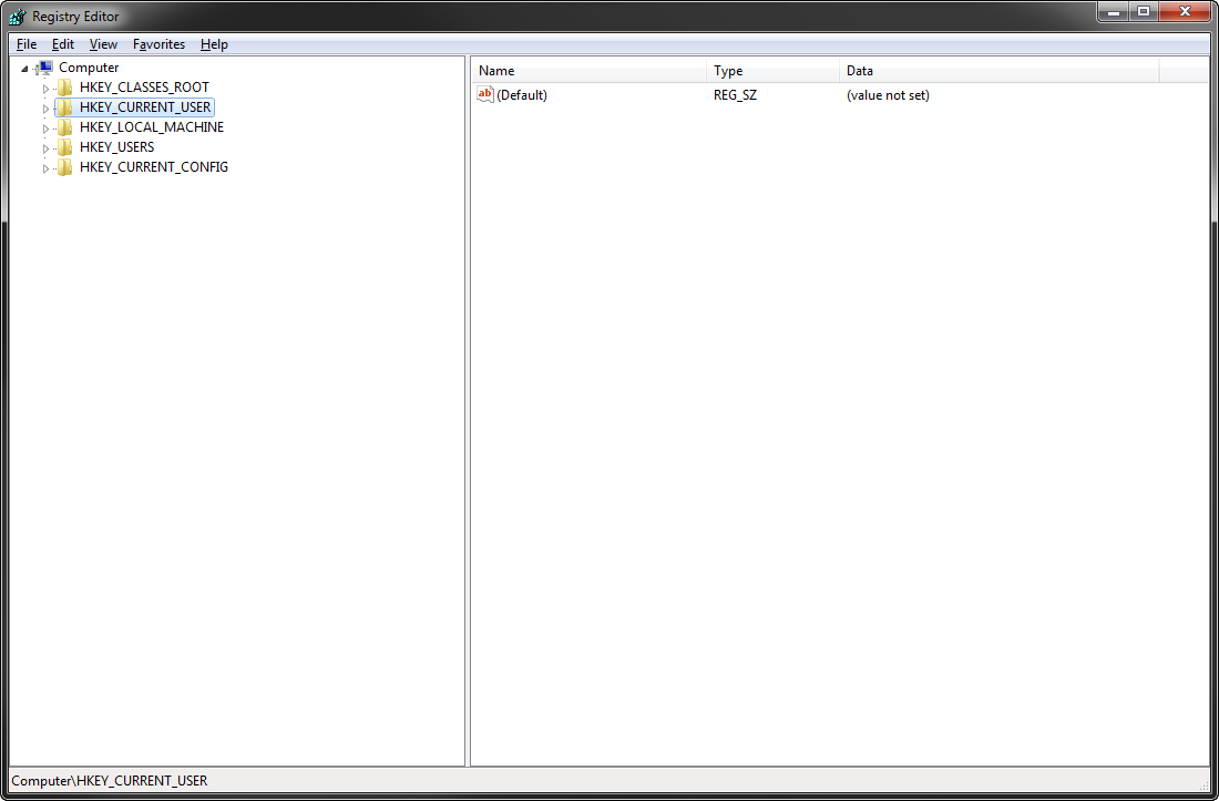 Go to the Start Menu, Programs,  Accessories, and start Registry Editor. Go to HKEY_CURRENT_USER.