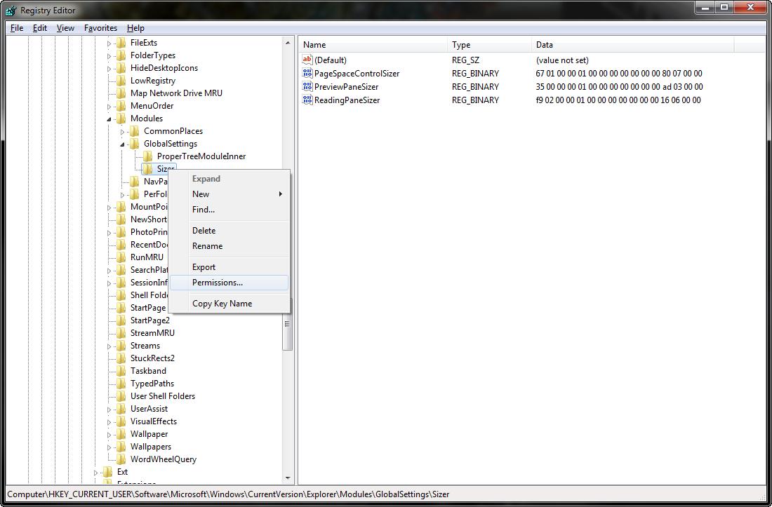 Edit permissions of: Software-Microsoft-Windows-CurrentVersion-Explorer-Modules-GlobalSettings-Sizer
