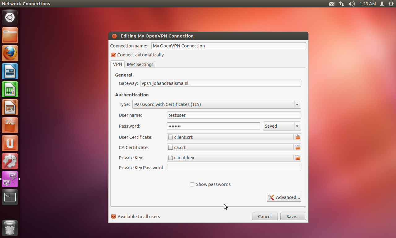 How to connect to the OpenVPN Access Server from an Ubuntu 12 04